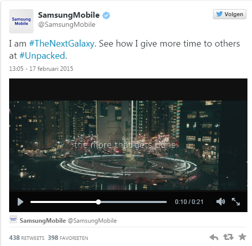 Samsung Galaxy S6 tweet